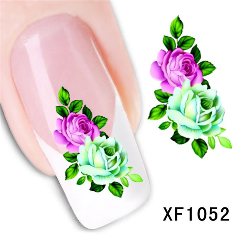 fashion 3D flower design Water Transfer Nails Art Sticker decals lady women manicure tools Nail Wraps Decals wholesale 1pcs flower nail art decals new fashion