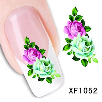 цена на fashion 3D flower design Water Transfer Nails Art Sticker decals lady women manicure tools Nail Wraps Decals wholesale