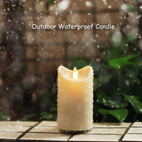 Outdoor waterproof candle 2D dancing flames flickering candles with timers for outdoor garden decorations, waterproof rating IP4