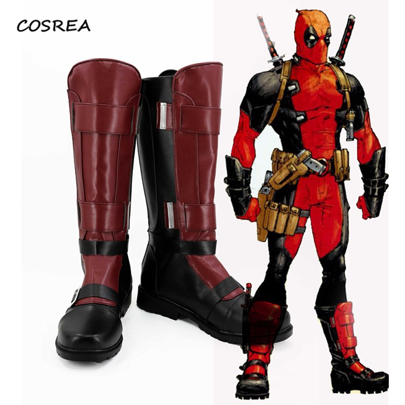 Movie Deadpool X-men Superhero Wade Wilson Shoes Cosplay Costumes Boots Men Women  Halloween Party Accessories Props Custom Made