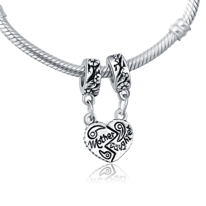 32e335dfc Original Silver Plated Love Heart Mother Daughter Charm Pendants Fits For Pandora  Bracelets Wholesale Jewelry For Mother Gifts-in Beads from Jewelry ...
