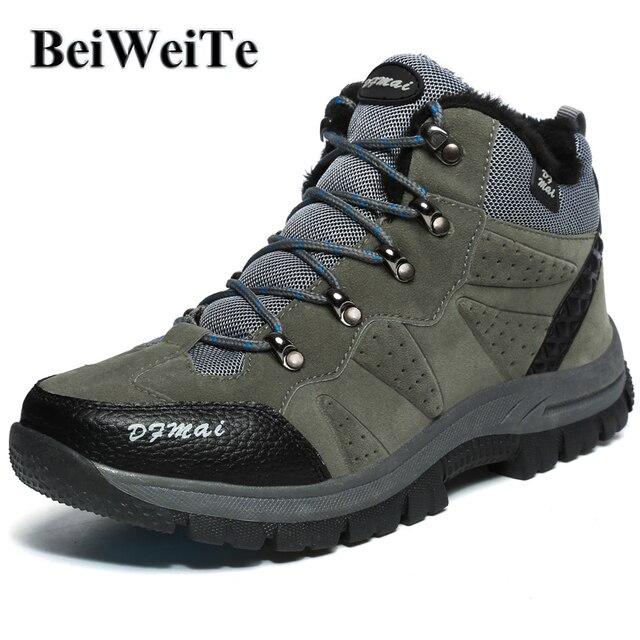 BeiWeiTe Inverno Mens Caldo Trekking Boots High Top Foderato di Pelliccia  Trail Scarpe Da Trekking Per d3607fd4094