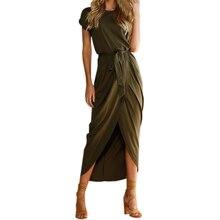 Boho Beach Dress 2018 Women Short Sleeve Maxi vestidos de festa Summer Long Open Slit Casual Plus Size GV718