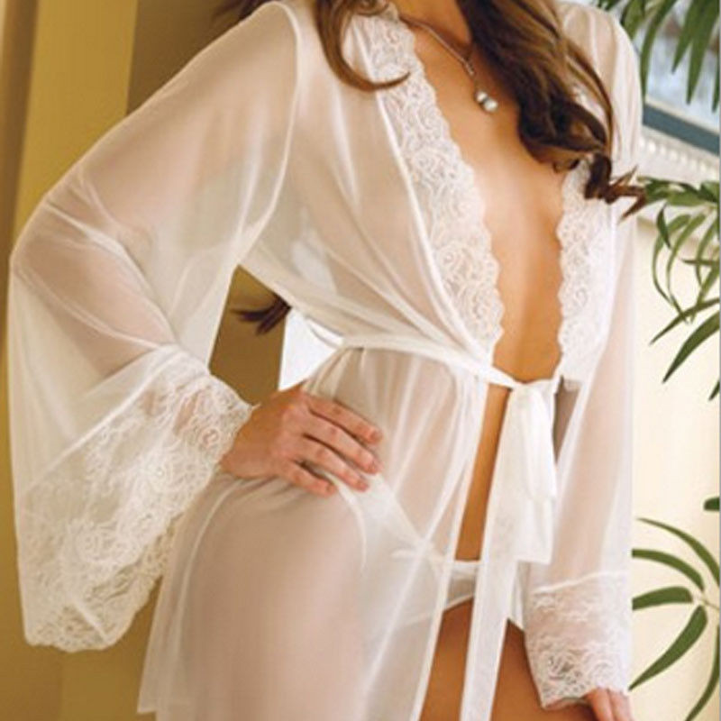 Sexy V-neck Sleepwear Women Nightdress Lingerie Lace Chiffon Night Robes White Dress Nightwear with G-String