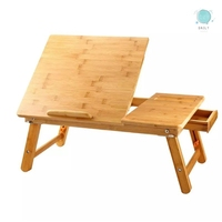 Large Bed Tray Adjustable Lap Desk Tilting Top Foldable Table Multi tasking Stand Breakfast Serving Bamboo Supports up