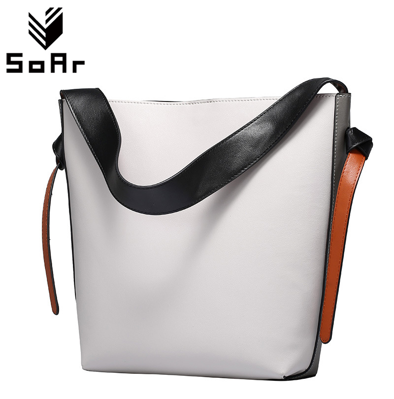 SoAr Genuine Leather Handbags Large Bucket Bag Casual Fashion Cow Leather Shopping Bag Women Messenger Shoulder Bag High Quaity new women genuine leather handbags women s first layer of leather handbags fashion casual bucket bag shoulder bag messenger bags