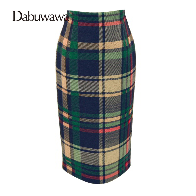 Dabuwawa Autumn Winter New High Waist Plaid Elegant Skirt Knee Length Slim Fit Formal Skirt Ladies Pencil Skirts #D16CSK003