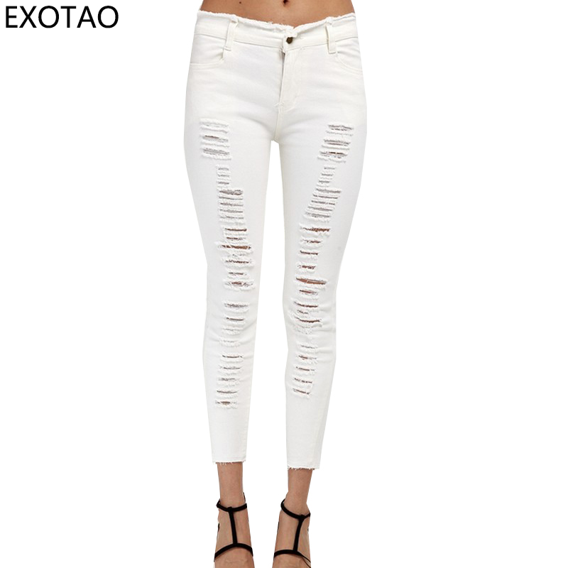 Ankle-Length Ripped Jeans for Women Harajuku Plus Size Vaqueros Mujer Design Holes Spring Pantalon 2017 New S~4XL Denim Trousers fashion brand women jeans high waisted denim jeans ripped trousers washed vintage big hole ankle length skinny vaqueros mujer