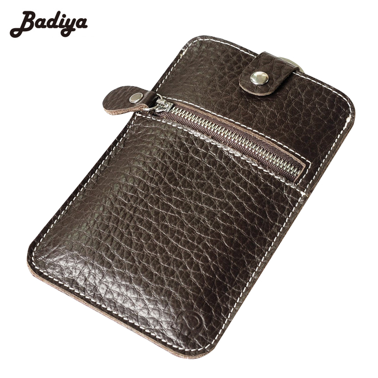 Genuine Leather New Mens Wallets Long Coins Purse Zipper&Hasp Key Ring Bag Phone Purses and Cards Slots Pockets Walets Carteira