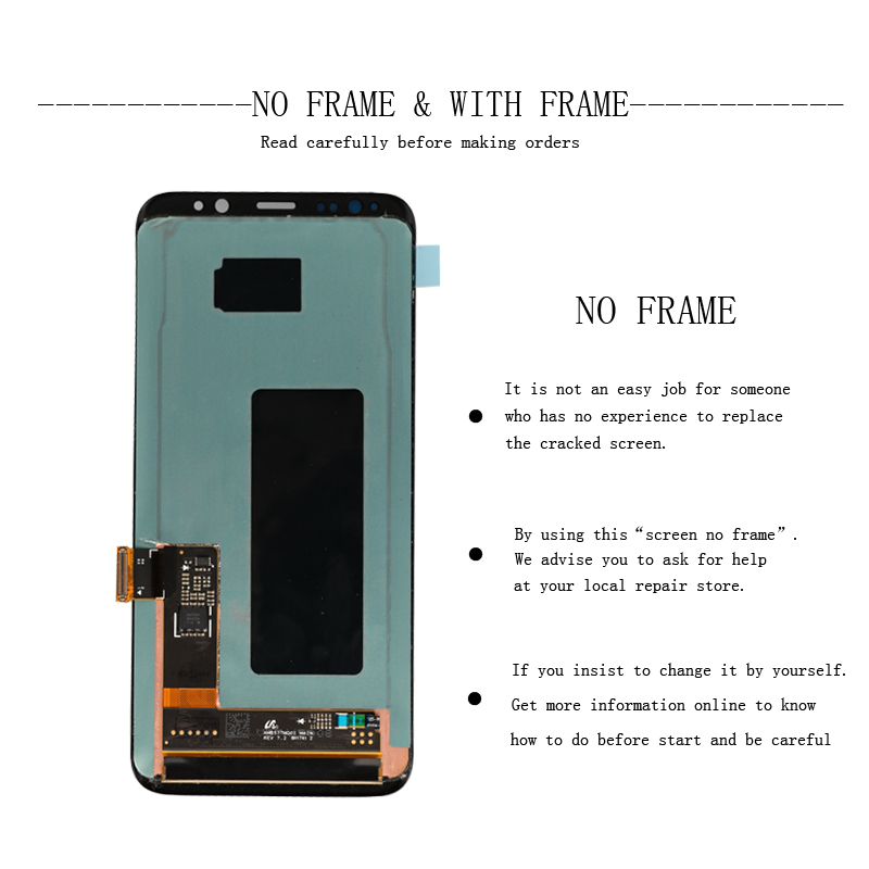 ORIGINAL 5.8'' S8 Display Screen for SAMSUNG Galaxy S8 Screen Replacement LCD Touch Digitizer Assembly G950F G950 with FRAME