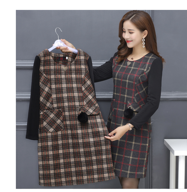 Winter Woman Elegant Tweed Dress Red Yellow Plaid Pattern Blends Robe Femme Thicken Fleece Dresses Woman Warm Shift Dress Office Outfits (16)