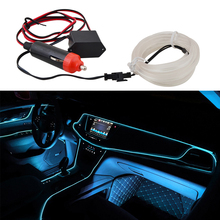 Universal 2M 12V Ice Blue LED Car Auto Interior Decorative Atmosphere Wire Strip Lamp itimo 4 in 1 blue car atmosphere lamp interior light source universal auto accessories led strip lights car styling 12 led