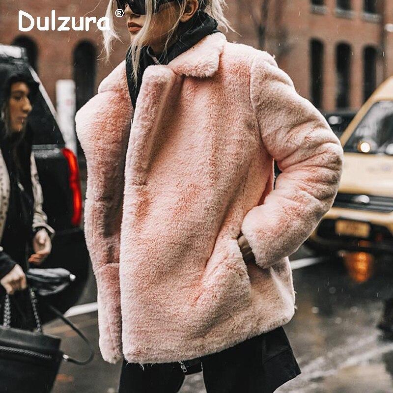 Best Look In 2018 Winter Women Faux Fur Coat Ins Popular Fake Fur Jacket Women Thick Warm Soft Rex Rabbit Fur Overcoat Outerwear
