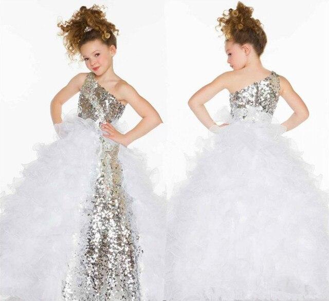 edfae99d0eb 2015 pas cher paillettes pageant robes pour les petites filles argent blanc  enfants robes de soirée