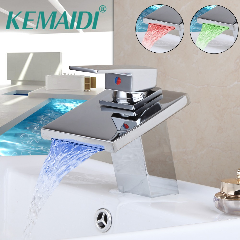 KEMAIDI robinets de salle de bain lumière LED Chrome poli pont montage cascade salle de bains navire évier robinet à LED lavabo mélangeur 8001-1