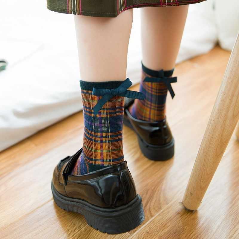 Vintage Bow Student Japan College Style Cotton Fashion Socks Cotton Cute  Girls Lattice Socks For Woman 74b5de65d29f