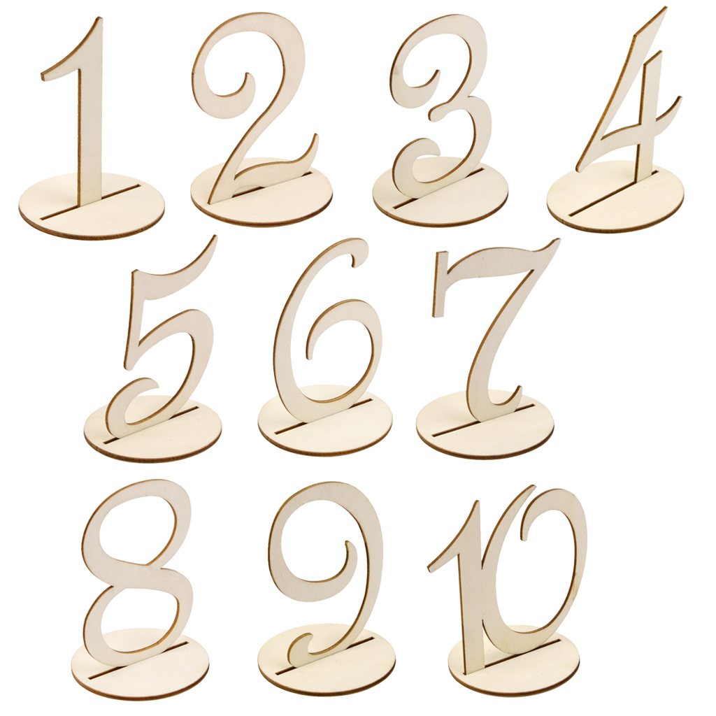 Buy mdf wooden 10cm table numbers 1 10 for Table numbers