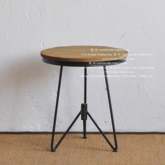 Hierro mesa redonda mesa de centro de madera mesa de café americano ...