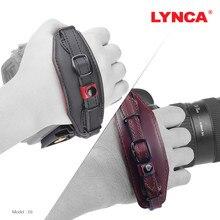 LYNCA Camera Carrying Correia de Pulso Titular Genuine Mão Couro Strap Aperto para Canon/Nikon/Sony/Fujifilm/ olympus/Pentax/Panasonic