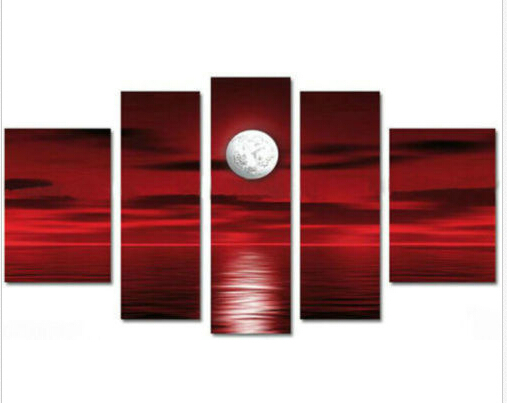 MODERN ABSTRACT Home WALL ART OIL PAINTING ON CANVAS red clouds light moon free shipping no framed