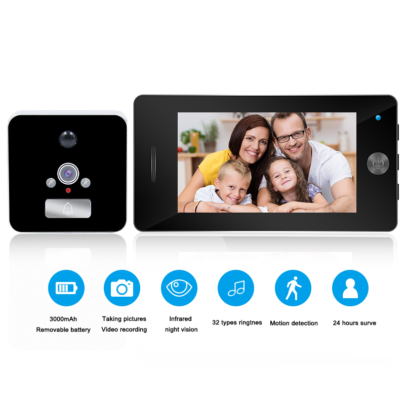 4.3 Inch HD Digital Door Viewer Peephole Camera LED Night Vision Motion Detect