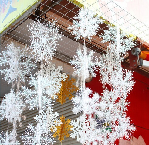 2 sets christmas party decorations supplies white snow snowflakes hanging ornaments one set with 3pcs