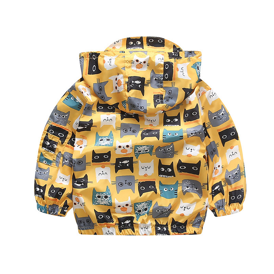 2acf3f714 New Chic Hooded Jackets Coats Outwear For Kids Girls 2 8 Years Cartoon Cats  Printing Windbreaker Children Boys Clothing-in Jackets & Coats from Mother  ...