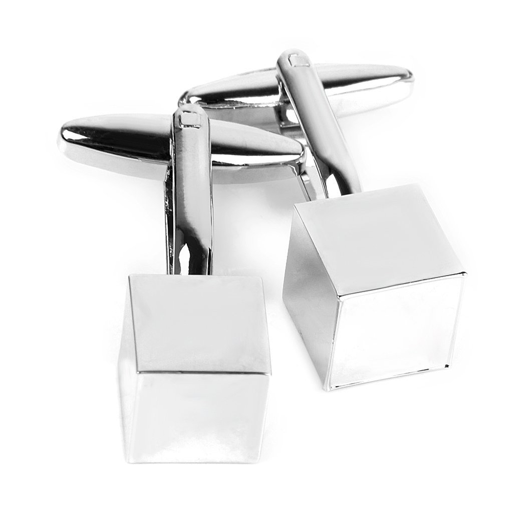 silver 1 Pair Of Mens Cube Shaped Stainless Steel Cufflinks Sleeves Buttons Cheapest Price From Our Site