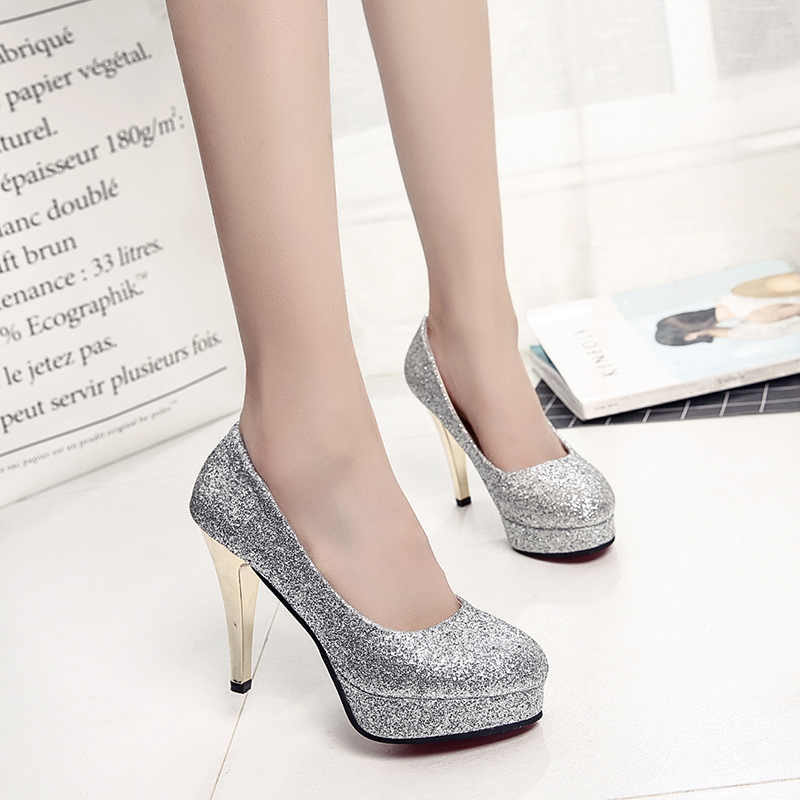 bride wedding shoes bridesmaid gold silver high heels fine with pointed 8cm sequins shallow mouth waterproof