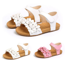 2019 Summer Kids Children Fashion Flower Girls Flat Pricness Shoes Baby Shoes Toddler Shoes Children's  Sandals Flat Shoes  P30 kids sandals summer kids shoes children magic hook beach sandals fashion bowknot girls flat pricness shoes