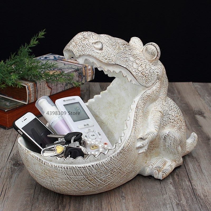 Home decoration ornaments creative retro personality dinosaur hippo foyer shoe cabinet key storage box coffee table