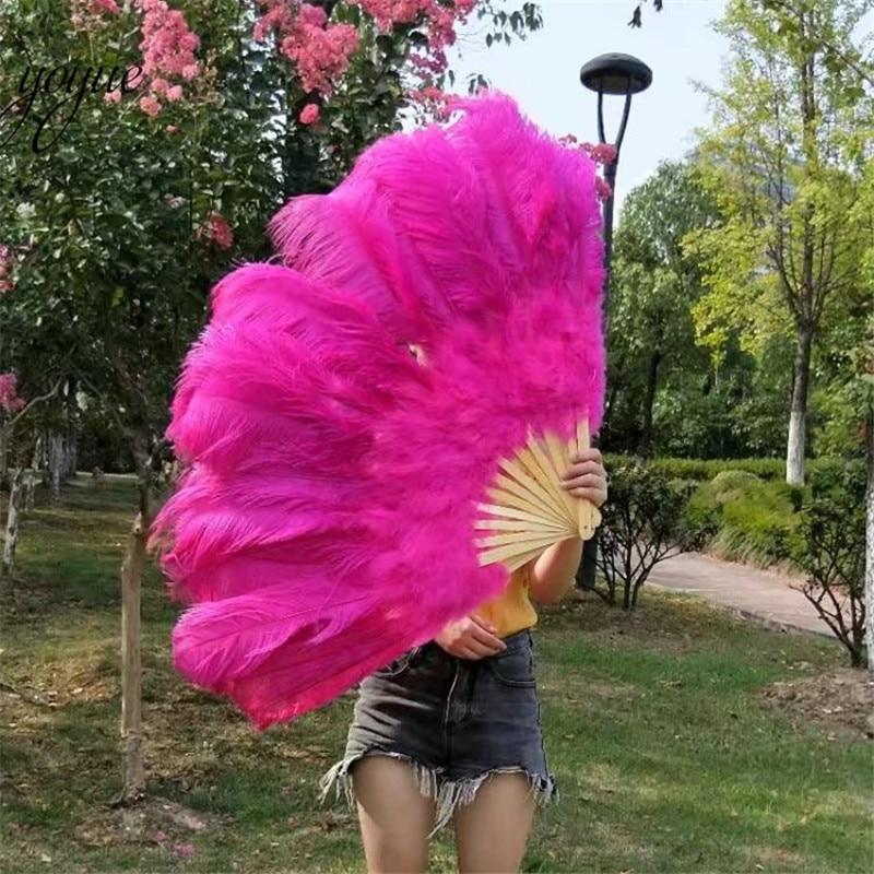 ¡Nueva lista! Ventilador de plumas de avestruz grande rosa de alta calidad decora fiesta de Halloween para bailarines de vientre DIY 12 barras de ventilador de plumas-in Pluma from Hogar y Mascotas    1