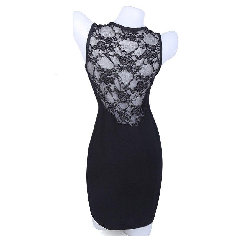 Charmed Sleeveless 19 Sexy Slim Lace Patchwork Dress European style Nightclub Split Blackless Mini Sheath Dress Robe Femme q** 14