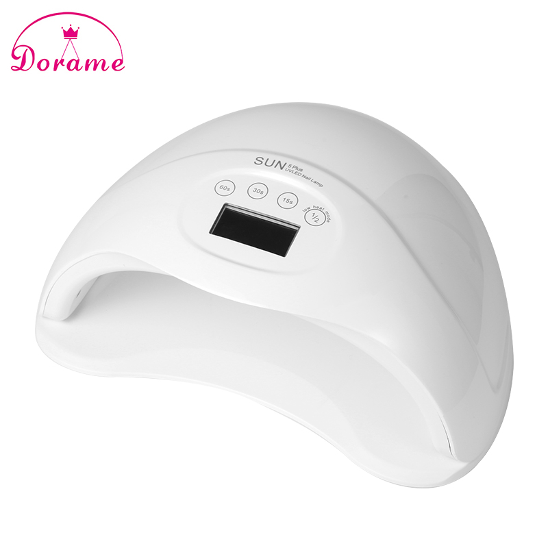Dorame SUN5 PLUS 48W Dual UV LED Nail UV Lamp Nail Dryer Gel Polish Curing Light with Bottom 15s/30s/60s Timer LCD display sunuv sun5 48w nail dryer white dual uv led nail lamp nail dryer gel polish curing light with bottom 30s 60s timer lcd display
