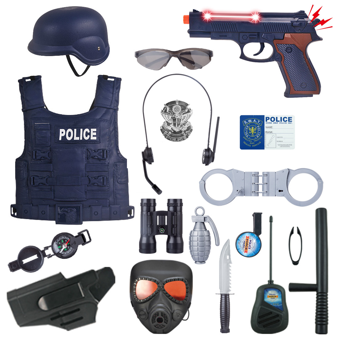 18Pcs/Set Children Pretend Play Police Officer Toy Props Police Role Play Kit Cop Toy Set For Fancy Dress Children Role Playing