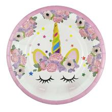 6pcs Pink Unicorn Plates Baby Shower Party Supplies Disposable Dishes Birthday Decorations Tableware