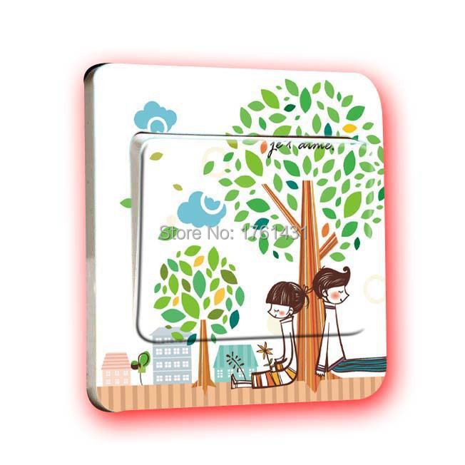 Free Shipment: 2015 Cartoon Lovers Sit Under Tree Warm Home Decorative Switch Stickers House Room Wall Switch Paste
