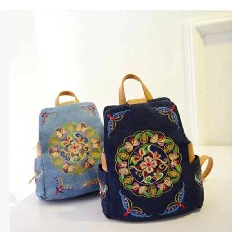 Retro Embroidery Vintage Backpack New Canvas Zaino Vintage Shoulder School Bags For Teenage Girls Single Shoulder