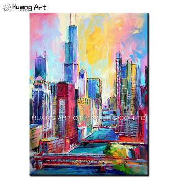 Hand Painted Modern Building Landscape Oil Painting on Canvas for Home Decor Wall Paintings Handmade City Scenery Oil Picture