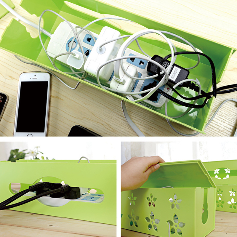 Korean Style Three Size Carved Cable Wire Storage Box Cable Storage Box Case Wire Management Socket Safety Tidy Organizer