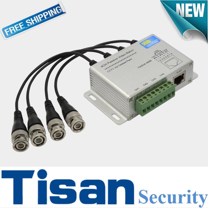 4CH 1080P HD CVI AHD TVI Passive Video Balun for HD cctv camera system 1ch 1 pair hd cvi tvi ahd passive balun rj45 cctv video balun transceiver supply power for cctv security cvi tvi ahd camera