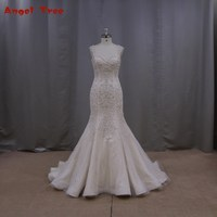 Hot Sale Hand Made Mermaid Wedding Dresses Elegant Embroidery Beading Sweetheart Cap Sleeve Tulle Backless Wedding