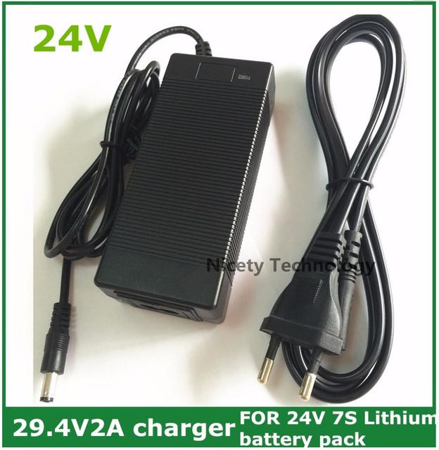 Envío Libre 2A 29.4 V cargador para 25.2 V 25.9 V 29.4 V 7 S batería de litio de 29.4 V cargador cargador de e-bike