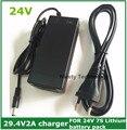 Frete Grátis 2A 29.4 V carregador para 25.2 V 25.9 V 29.4 V 7 S bateria de lítio pacote 29.4 V recarregador e-bicicleta carregador