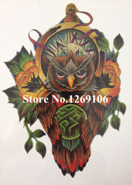 Fashion 21 X 15 CM Colorful OWL Temporary Tattoo Stickers Temporary Body Art Waterproof#43