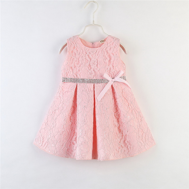 Girls Dress New Style Summer Kids Solid color Cute Lace Dress Children Sleeveless Princess Dress Children Clothes Dresses D30(China)
