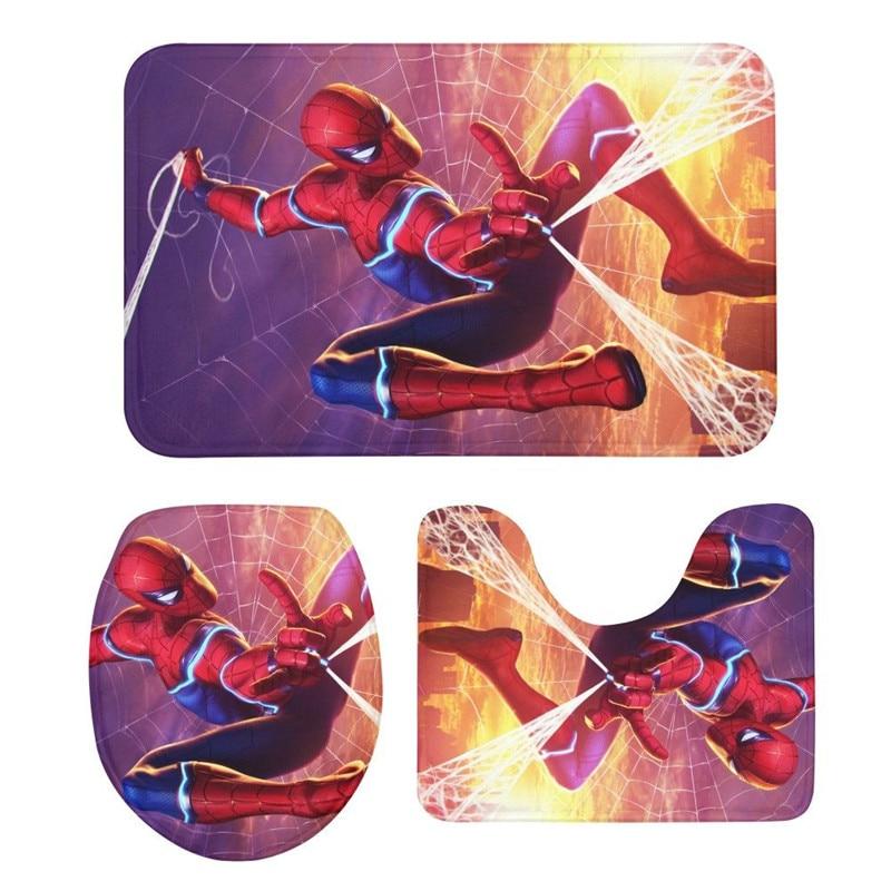 3 pièces siège de toilette Tapis Costume Marvel Spiderman 3D Impression Tapis Non-Slip prise à ventouse tapis de bain Salle De Bains Cuisine Paillassons Accueil Déco