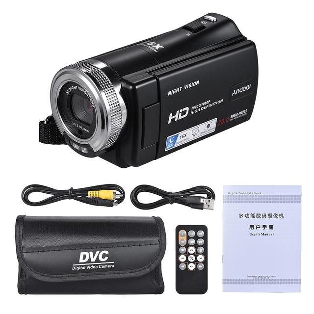 Andoer V12 1080P Full HD 16X Digital Zoom Recording Video Camera Portable Camcorder Max. 20 Mega Pixels 2