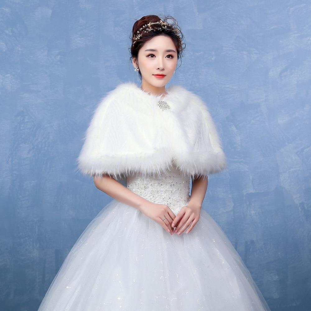 Simple Wedding Bolero Wraps with Diamond Bridal Shawls Faux Fur ...