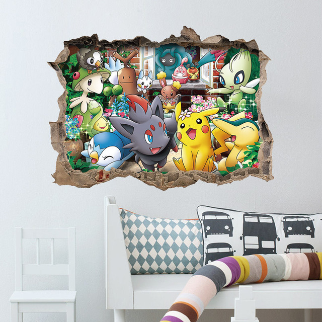 Fashion cartoon wall stickers pokemon pikachu pattern 3d break wall style vinyl decal for kids room
